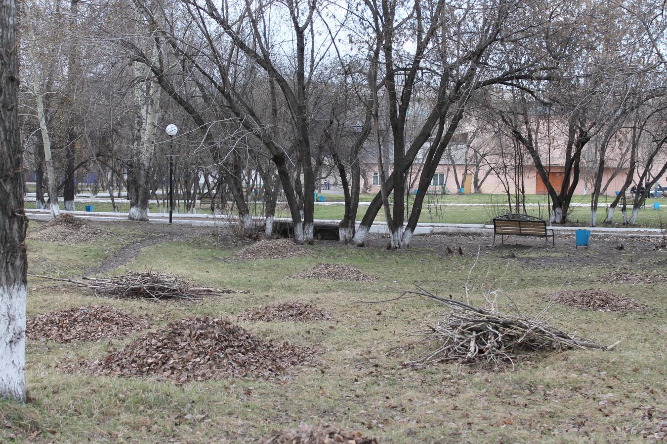 Мусор в городском парке